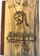 Jerusalem Bible Olive Wood Cover With The Last Supper/crucifixion Eng 1094 Pg