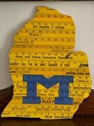 University Of Michigan Yardstick Unique Art One Of A Kind Handmade State Shape