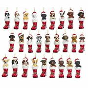 Cute Dog In Santa Boot Ornament 36 Breeds Christmas Hand-painted Resin Puppy