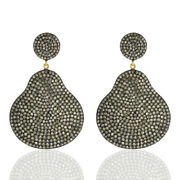 Natural Pave Diamond Dangle Earrings Gold Silver Vintage Handmade Jewelry