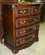 Antique Style Country French Carved Solid Teak Five Drawer Chest Bronze Handles
