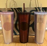 Starbucks 2020 Holiday Studded Grid Cold Cup Tumbler Venti - Pink Plum Silver