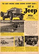 1949 Vintage Ad Willysand039 Jeep 4 Wheel Drive Farm Vehicle A Light Tractor 111120