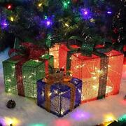 Christmas Lighted Boxes Set Of 3 Light Up 60 Led Outdoor Present Decorations New