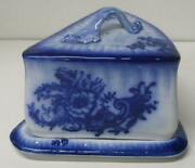 Antique Flow Blue Large Covered Cheese Dish Wedge Shape Floral Server Holder
