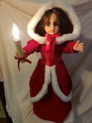 Vintage Rennoc 24 Christmas Caroler Doll Girl Animated With Lighted Candle