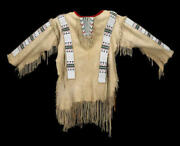 Native American Sioux Style Suede Leather Fringe And Beads Work Handmade War Shirt