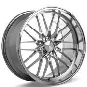 4ea 19 Staggered Ace Alloy Wheels Aff04 Silver With Machined Face Rimss44