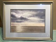 W Mosley Gulls Over Port Philip Bay Watercolour Framed Painting
