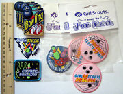 Girl Scout Guide Lot 11 Bowling - Fun Patches Alley Ball Lane Sports Badge New