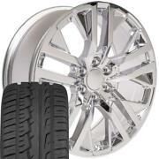 Chrome 22 Wheels And Tires Fit Chevy Gm Cadillac Rst/custom Cv38 Ironman Set