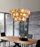 Agate Chandelier Three Tiered Crystal Slices Gold Leaf Light Colorful Lamp Luxur