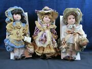 Younger Than Springtime Show Stoppers 3 Collectible Porcelain Adorable Dolls 12