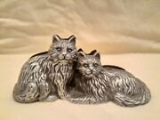 Pewter Cats Photo/business Card Holder By Burnesandreg Of Boston Or Paperweight