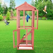 Lonabr Large Wooden Bird Cage Aviary House Standing Parrot Finch Parakeet Play