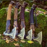 Hand Forged Viking Axe 4 Lot Carbon Steel Tomahawk Axe With Free Sheath