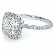 4.02ctw Cushion Cut High Set Halo Moissanite And Diamond Engagement Ring 18k Wh...