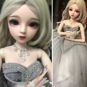 60cm 1/3 Bjd Doll Girl With Face Makeup Removable Eyes Wigs Princess Clothes Set