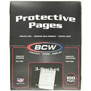 100 Bcw 3-pocket Currency Size Binder Pages Collectible Trading Card Albums Toys
