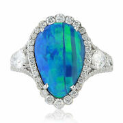 Designer 18k Solid White Gold Pear Shape Opal Doublet Pave Diamond Ring Jewelry