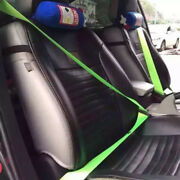 Green Car 4.8cm Racing Car Harness 3 Point Front Safety Retractable Seat Belt