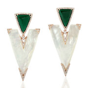 Natural Pearl And Malachite Dangle Earrings 18k Rose Gold Diamond Jewelry Gift