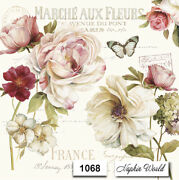 1068 Two Individual Paper Luncheon Decoupage Napkins - Roses French France