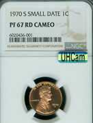1970-s Lincoln Cent Ngc Pf 67 Rd Cameo Mac Uhcam And Spotless Rare
