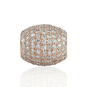 1.79ct Pave Diamond Bead Spacer Solid Finding 18k Rose Gold Jewelry