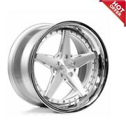 Set 20 Staggered Rennen Wheels Csl 7 Silver With Chrome Lip Rims Fit 5x112 S1