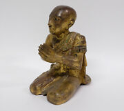 Antique 19th Century Thai Or Burmese Carved Gilt Wood Figure Of Buddhist Monk