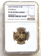 France 2004 Soccer World Cup 10 Euro Ngc Pf69 Gold Coin,proof