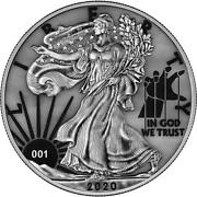 Usa 2020 1 Liberty Space Colour Edition Paint It Grey 1 Oz Silver Coin