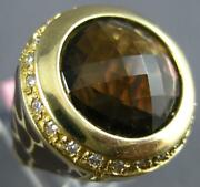 Large 10.40ct Diamond And Aaa Smokey Topaz And Enamel 14kt Yellow Gold Panther Ring