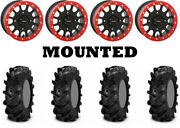 Kit 4 Itp Cryptid Tires 27x10-14 On System 3 Sb-5 Beadlock Matte Black Red Hp1k