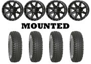 Kit 4 System 3 Xcr350 Tires 35x10-15 On Frontline 308 Gloss Black Wheels Can