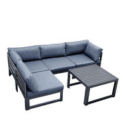 Outdoor Aluminum Sofa Set With Dark Gray Cushion Sectional Furniture Couch Patio