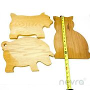 Vintage Country Manor Accents Natural Wooden Terrier Pig And Cat Ornaments