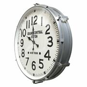 Large Industrial Metal Wall Clock - Grand Central Station, Ny - 30 Silver