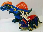 Fisher Price Imaginext Red And Blue Styracosaurus And Mega T-rex Blue Dinosaurs Lot