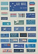 Collection Of World Air Mail Stickers On 3 Pages. Unusual.