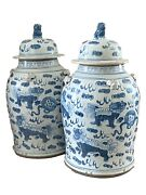 Lg Chinoiserie Blue And White Porcelain Foo Dogs Ginger Jars 19 H
