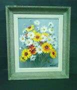 Painting Oil Sign R. Perisse Bouquet Of Daisies 1897-1969 Nancy