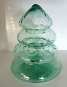 Princess House Christmas Tree 6415 Glass 4 Stacked Cannister Dish Green