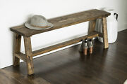 Solid Wood Farmhouse Bench Entryway Hall Furniture Seat Rustic Dark Brown Finish