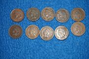 Lot Of 10 Indian Head Cent Penny Good 1896 1888 1904 1897 1907 1901 1891 1906