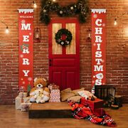 Merry Christmas Banner Flag Door Hanging Porch Sign Xmas Party Decor Ornament