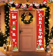 Merry Christmas Banner Flag Door Hanging Porch Sign Party Decor Xmas Ornament Us