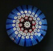 Old English Walsh Walsh 3 Row Concentric Millefiori Glass Paperweight