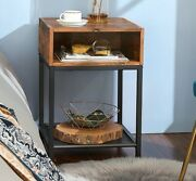 Industrial Style Side Table Vintage Rustic Wood Bedside Cabinet Nightstand Stand